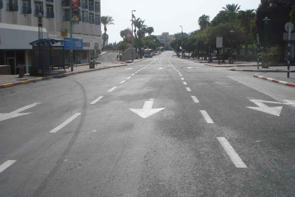 Yom Kippur in Tiberias - Completely empty street in downtown Tiberias, Israel on the Jewish holiday of Yom Kippur