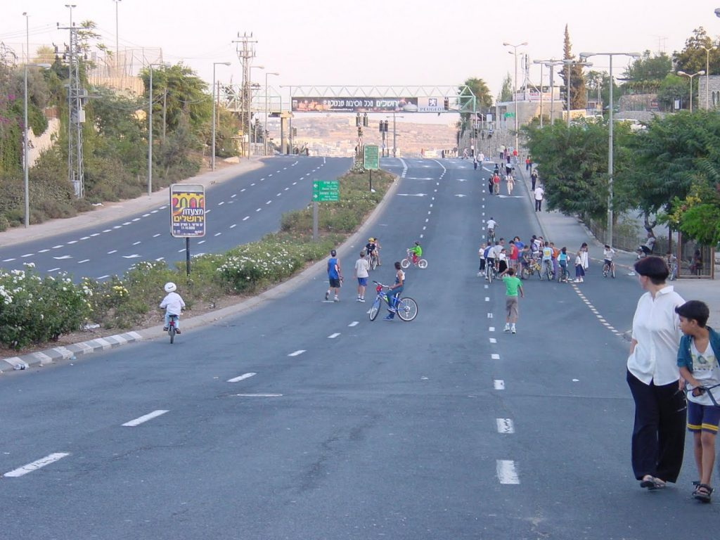 Yom Kippur in Tiberias - People hanging out on the highway on Yom Kippur in Israel